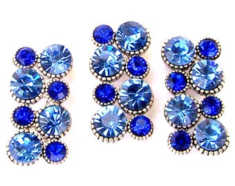 Blue crystal 2 hole beads, royal blue and light blue spacer beads, blue rectangle two hole sliders, qty 3