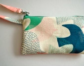 Square Wristlet Zipper Pouch- Design Fabric Pouch - birds in Japanese woven fabric