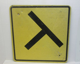 Vintage Highway Sign / Intersection Sign Yellow