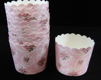 Pink with Roses Print Baking Cups, Candy Cups, Dip Cups, Nut Cups, Weddings, Party Cups, Candy Buffets, Wedding Cupcakes, Qty 12