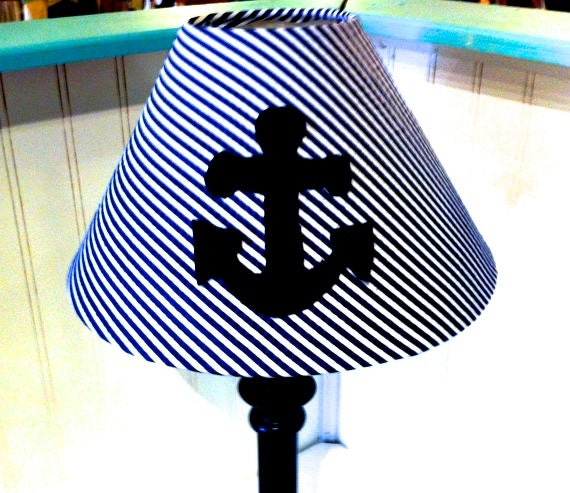 anchor lamp shade nursery decor nautical nursery cottage decor. Black Bedroom Furniture Sets. Home Design Ideas