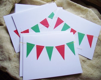 Blank Christmas Notes Cards Sewn Holiday Greeting Bunting Pennant flag 4.25 x 5.5 white hostess stocking stuffer