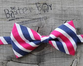 Pink, Navy & White diagonal stripe little boy bow tie, pre-tied - photo prop, wedding, ring bearer, accessory, birthday boy