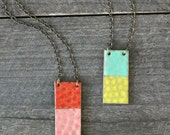 Vertical Rectangle Necklace- Bright Pear/Mint Green