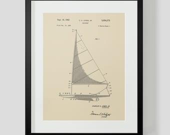Sailboat Boat Sailing Ocean Jones Patent Print