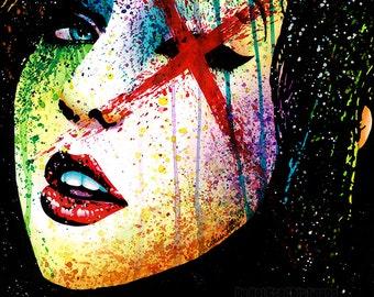 Alternative Art - Horror Show SIGNED Print Edgy Rainbow Pop Art Alternative Punk Rock Splatter Portrait 5x7, 8x10, or 10.5x13.75 in
