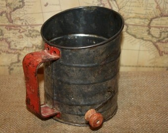 Vintage Red Handle Flour Sifter
