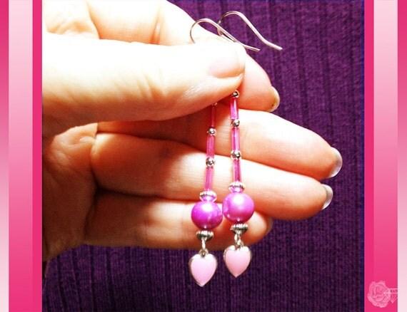 Hooks, Pink, Freshwater Pearl, Enameled Hearts Silver Earrings