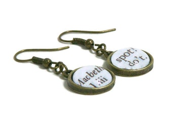 Shakespeare Macbeth Earrings Shakespeare Jewelry Shakespeare Plays Macbeth Quotations Bronze Earrings Scottish Play