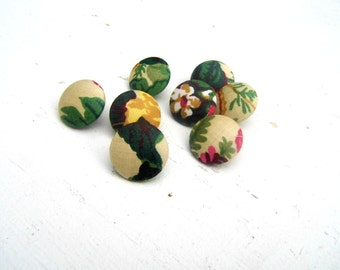 1950s Fabric Covered Buttons, Fabric Covered Shank Buttons, Vintage Sewing Notions