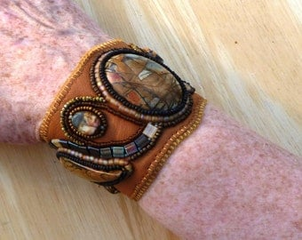 Leather cuff with Picasso Jaspers.