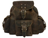 Leather Backpack Book Bag - Rich Chocolate Brown, Made in USA