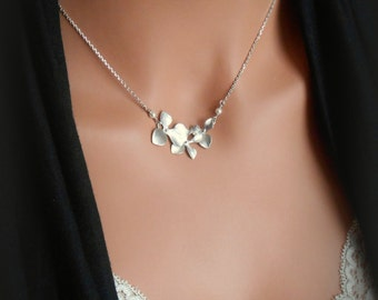 Orchid necklace, pearl necklace, everyday jewelry, bridal jewelry, white pearl necklace, flower necklace