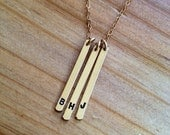 Minimalist Long Bar Initial Keepsake Necklace - gold filled chain and charm - your favorite initials handstamped, by me, for you!