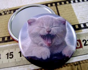 Pocket Mirror Magnet Pin Cat Lovers Gift