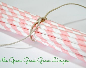 Pink and White Paper Party Straws