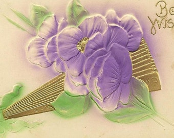 Bas Relief Purple Pansies and Folded Gold Fan Rich Air-Brushed Colors