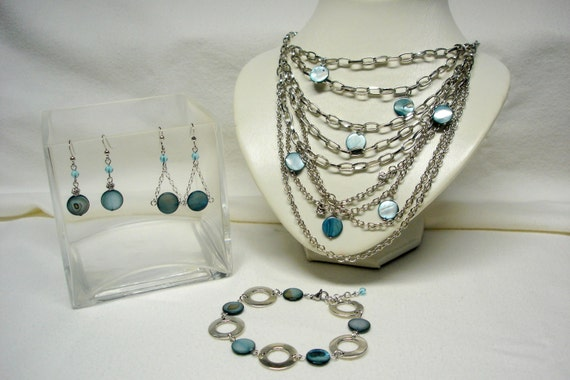 RESERVED LISTING For JOSIE Blue Grey Agate Multistrand Necklace with Silver Chains