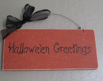 Halloween Greetings Sign - Halloween Sign - Wooden Halloween Sign