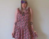 90s Pink Roses Tank and Collar Soft Grunge Mini Dress M