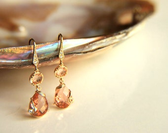 Earrings:Gold plated metal champaign colored crystals, gold plated hooks hooks gift for  wedding, valentine's mother's day