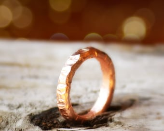 Sturdy  Round 4mm Copper Ring, Men Rustic Everyday Copper ring, Bold Sturdy Copper Ring, For Him,  Durable Copper Wedding Band