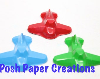 4 Airplane crayons - in cello bag tied with ribbon