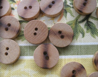 New Old Stock...vintage wood buttons...with burned stripe down the middle...1940...lot of 40