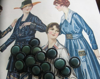 Antique Vegetable Ivory Buttons...dyed green & black...new old stock...1910...lot of 25