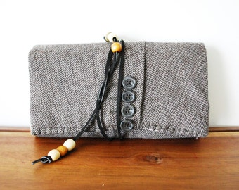 Mocha Herringbone Wool Trifold Clutch Wallet with Cognac Leather Tie