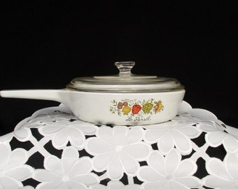 """Vintage Corning Ware Spice Of Life Skillet Pan P-83-B With Glass Lid 6.5"""" Fry Pan Le Persil - Menuette Pan"""