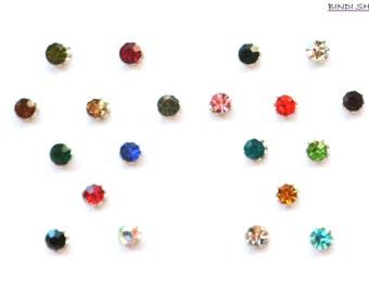 Round Bindi Indian Dots Self Adhesive Crystal Body Art Eye Accent Nose Pin