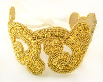 Golden Radiance Beaded Sequin Ribbon Headband Hair Accessory in Gold and Ivory - Clearance Sale