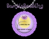 Children's Jewelry - I Love You to the Moon and Back Pendant Necklace -  Purple Bird Pendant - Kids Jewelry - Children Necklace