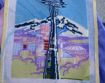 Seattle Space Needle and Mountain Unfinished Needle Point