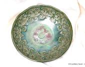 Stoneware shallow bowl - double banded, green handmade functional pottery dishwasher safe