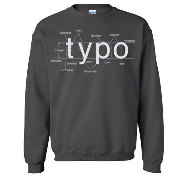 SALE Typography Crew Neck Sweat Shirt Anatomy of Type Diagram Helvetica Font Sweater M