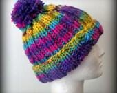 Hand knit hat - knit hat - pom pom knit hat - Colorful knit hat - knit hat - striped knit hat - knit beanie - knit acrylic hat - pom pom