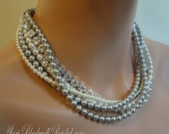 Mother of the Bride Jewelry Set Necklace Bracelet Earrings Grey Swarovski Pearl Gray or choice of color multi strand bridal wedding jewelry