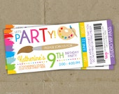 Art Painting Birthday Party Ticket Style Invitations - Printable DIY