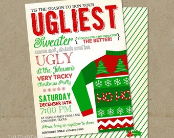 Ugly Sweater Invitation, Ugly Sweater Invite, Ugly Sweater Party Invite, Ugly Sweater Party Invitation, Ugly Christmas Sweater Party Invite