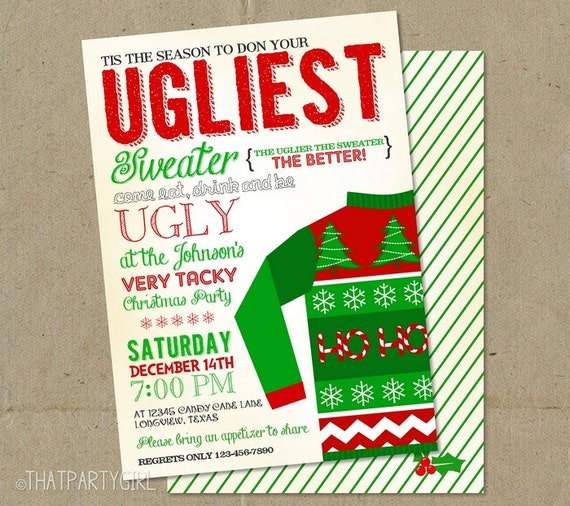 Ugly Sweater Invite Wording is nice invitation example