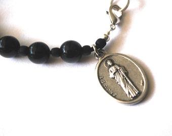 St Jude Mens Rosary Bracelet, Black Onyx Tigers Eye, Turquoise Saint Bracelet Male confirmation Gift Saint Jude male Catholic Saint Bracelet
