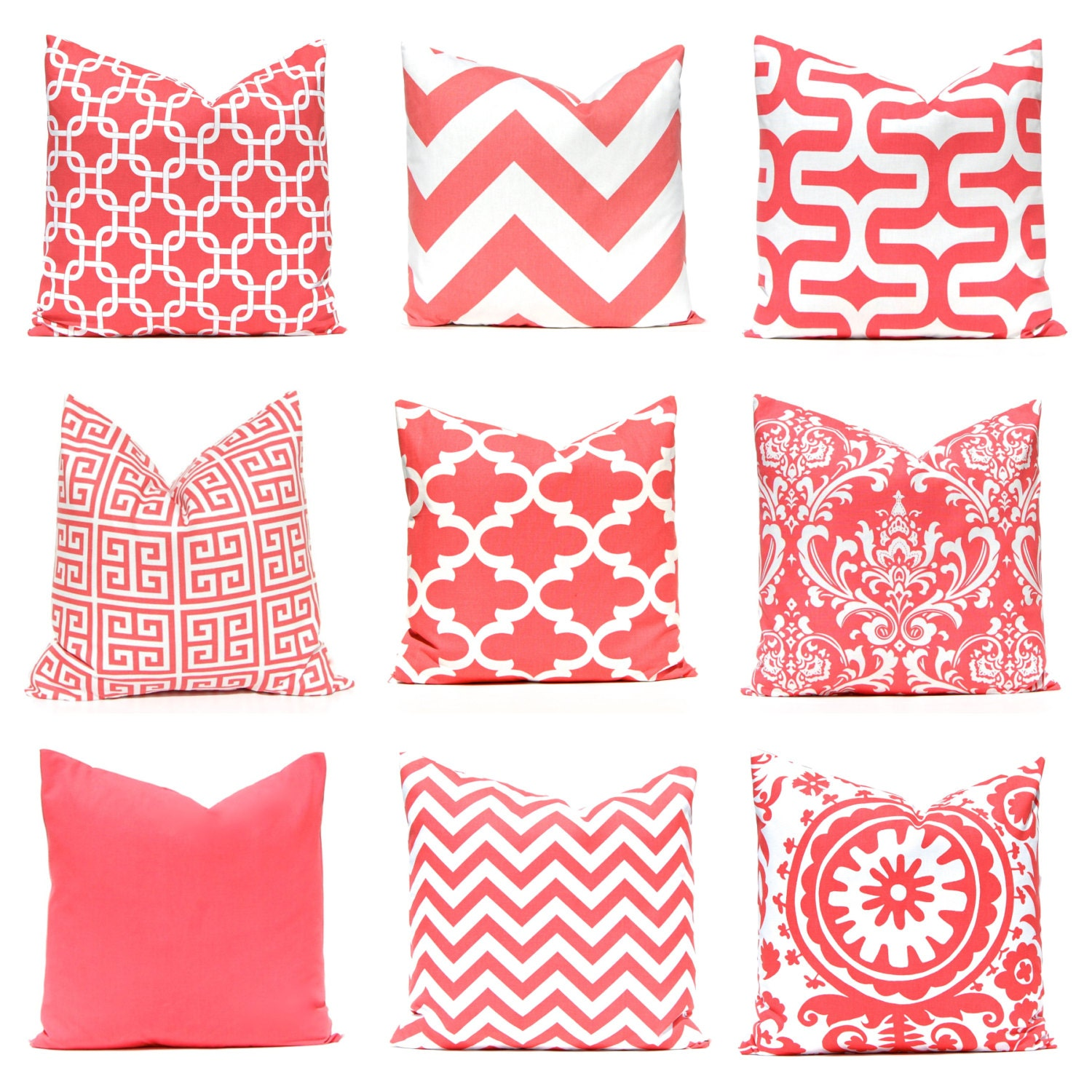 Coral Pillow Covers 12 x 16 Pillow Covers Decorative Throw