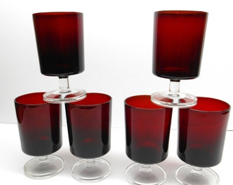 Vintage Red  Drinking Glasses