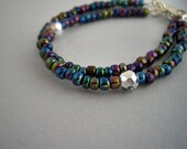 Iridescent stacking bracelet, seed bead skinny bracelet, friendship layering bracelet, peacock bracelet, dainty sparkly jewelry, set of 2