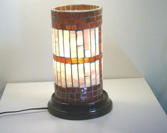 Stained Glass On Glass Mosaic Table Top  Electric Lamp Accent Lamp  Night light  Household LIghting,