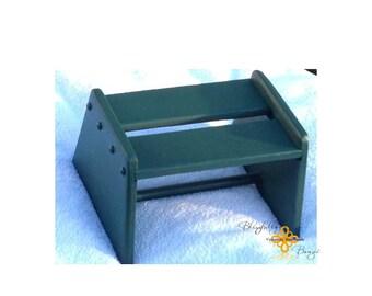 Handmade wood step stool painted green