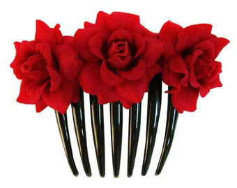 Rose flower Hair Comb  Choose color