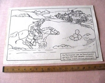 """Vintage Old Classroom School Poster 12"""" x 18"""" Pony Express 1930's History Wild West Stagecoach Western"""
